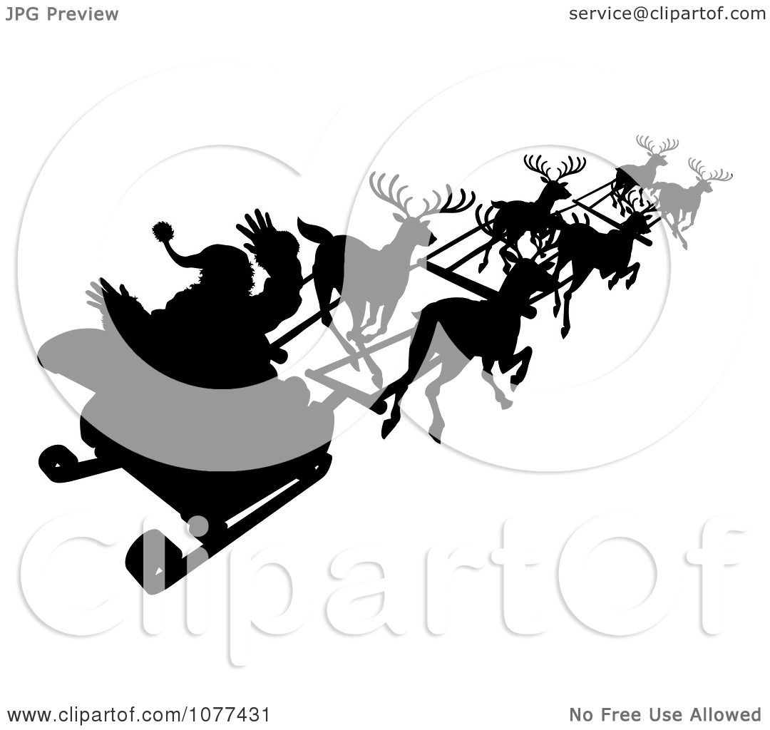 Clipart Silhouette Of Santa Waving And Flying Past In His