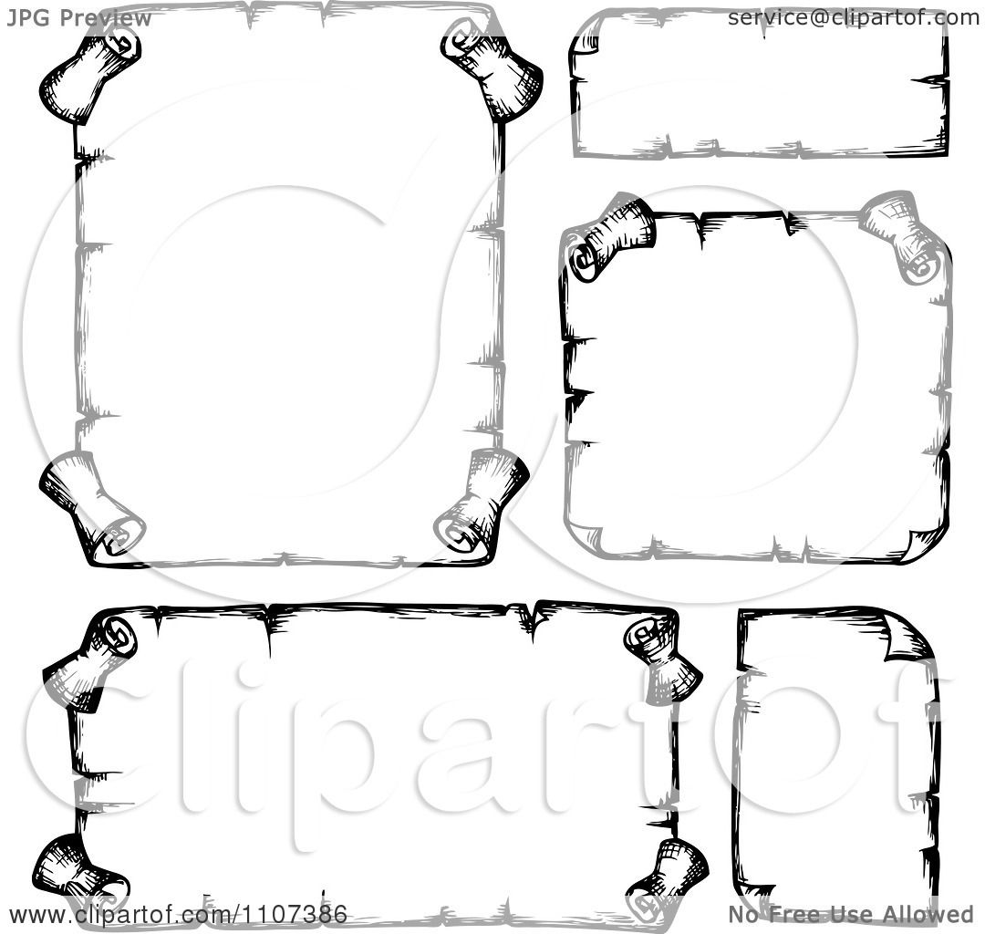 Clipart Sketched Balck And White Parchment Scrolls 1