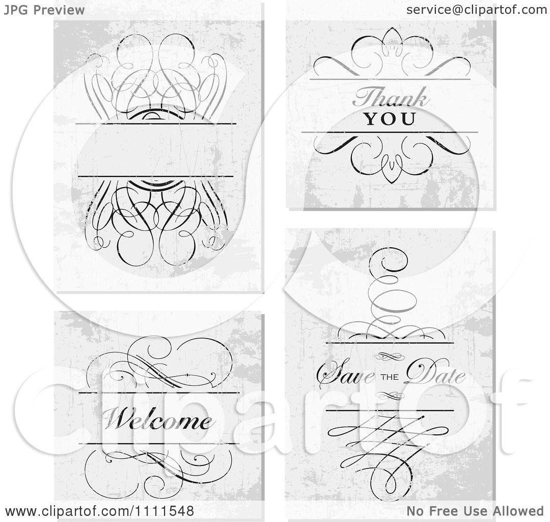 Clipart Swirl Frame And Thank You Save The Date And