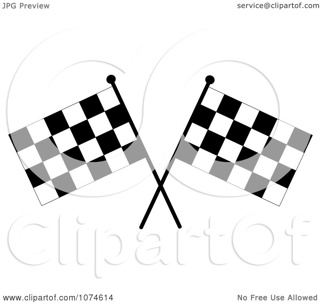 Clipart Two Crossed Checkered Racing Flags 2