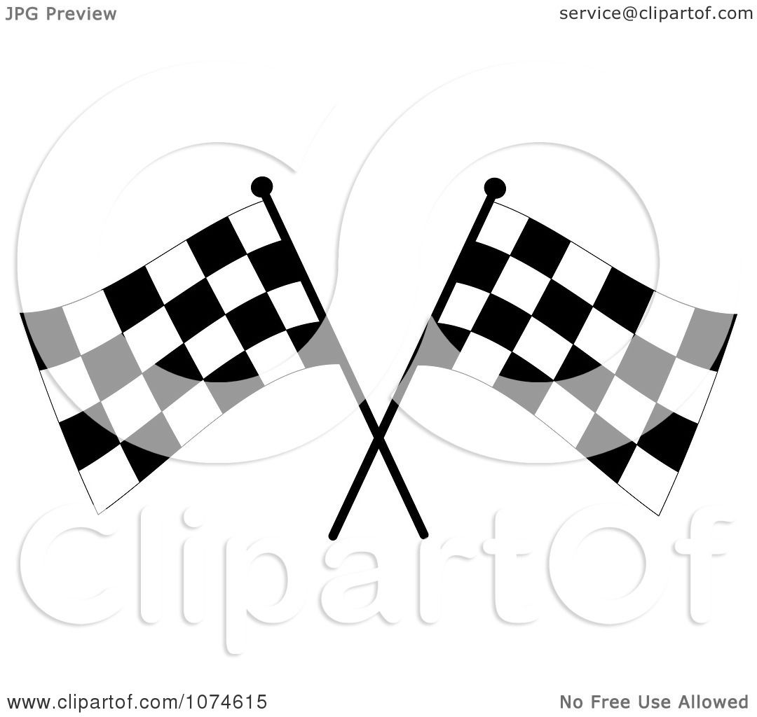 Clipart Two Crossed Checkered Racing Flags 3