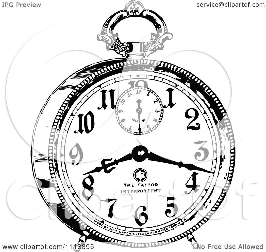 Clipart Vintage Black And White Alarm Clock 2