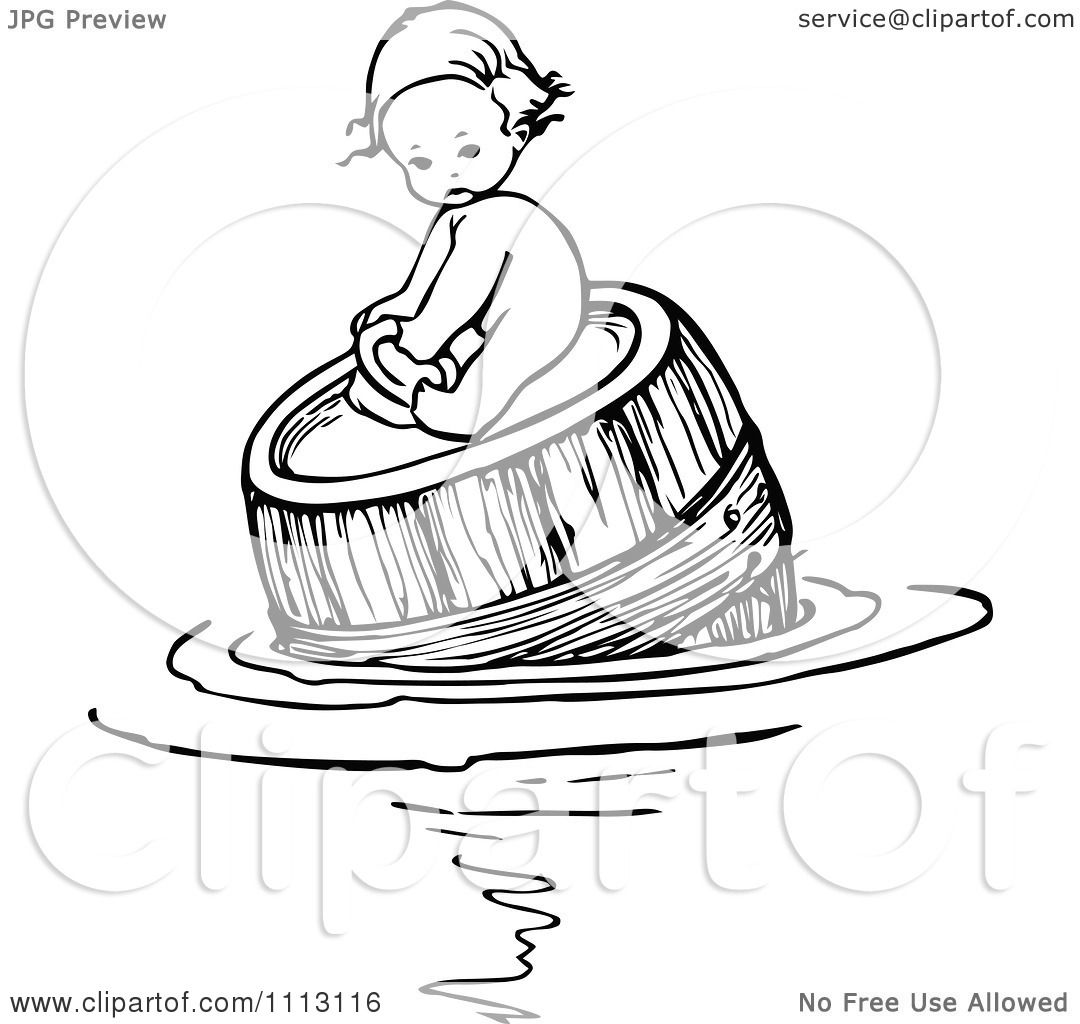 Clipart Vintage Black And White Baby Floating And On A