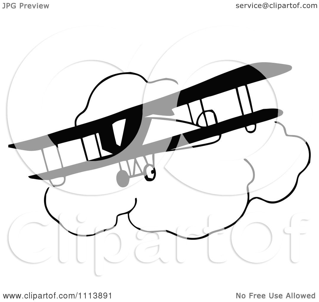 Clipart Vintage Black And White Bi Plane And Clouds