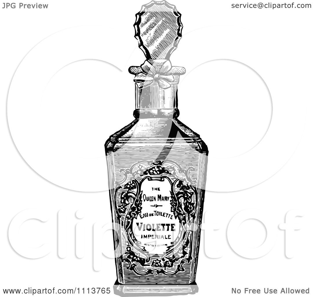 Clipart Vintage Black And White Bottle Of Perfume 2