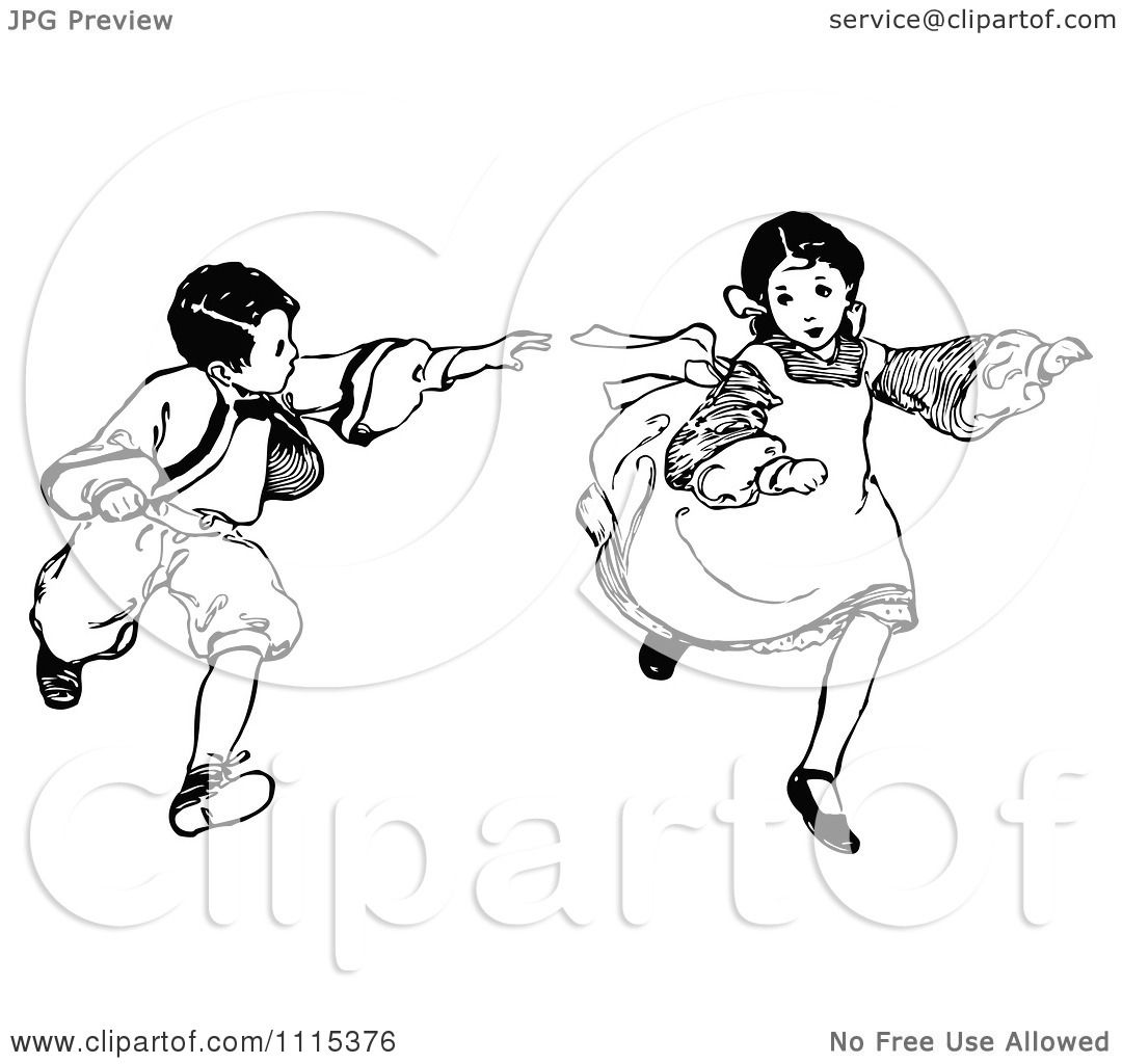 Clipart Vintage Black And White Brother And Sister Playing
