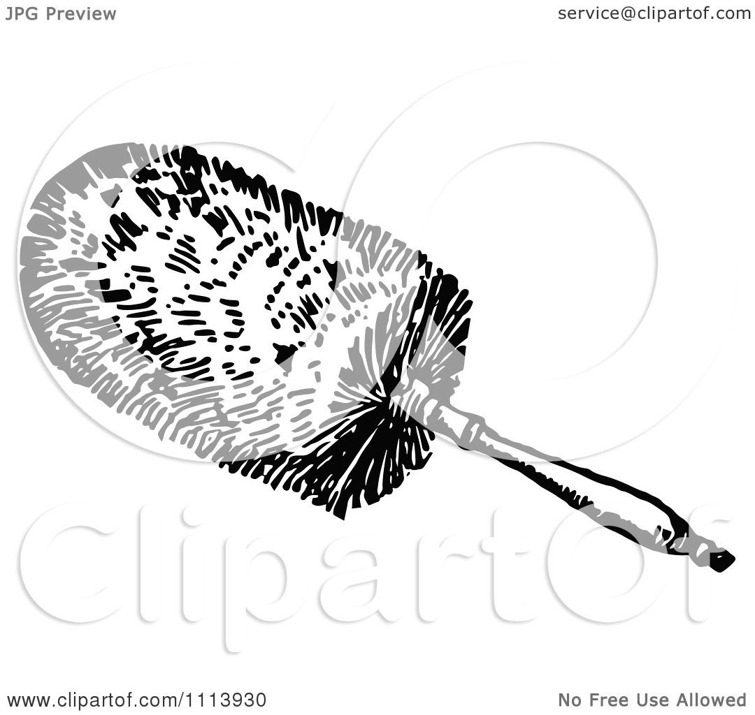 Clipart Vintage Black And White Cleaning Feather Duster