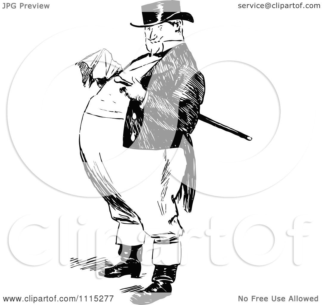 Clipart Vintage Black And White Fat Man