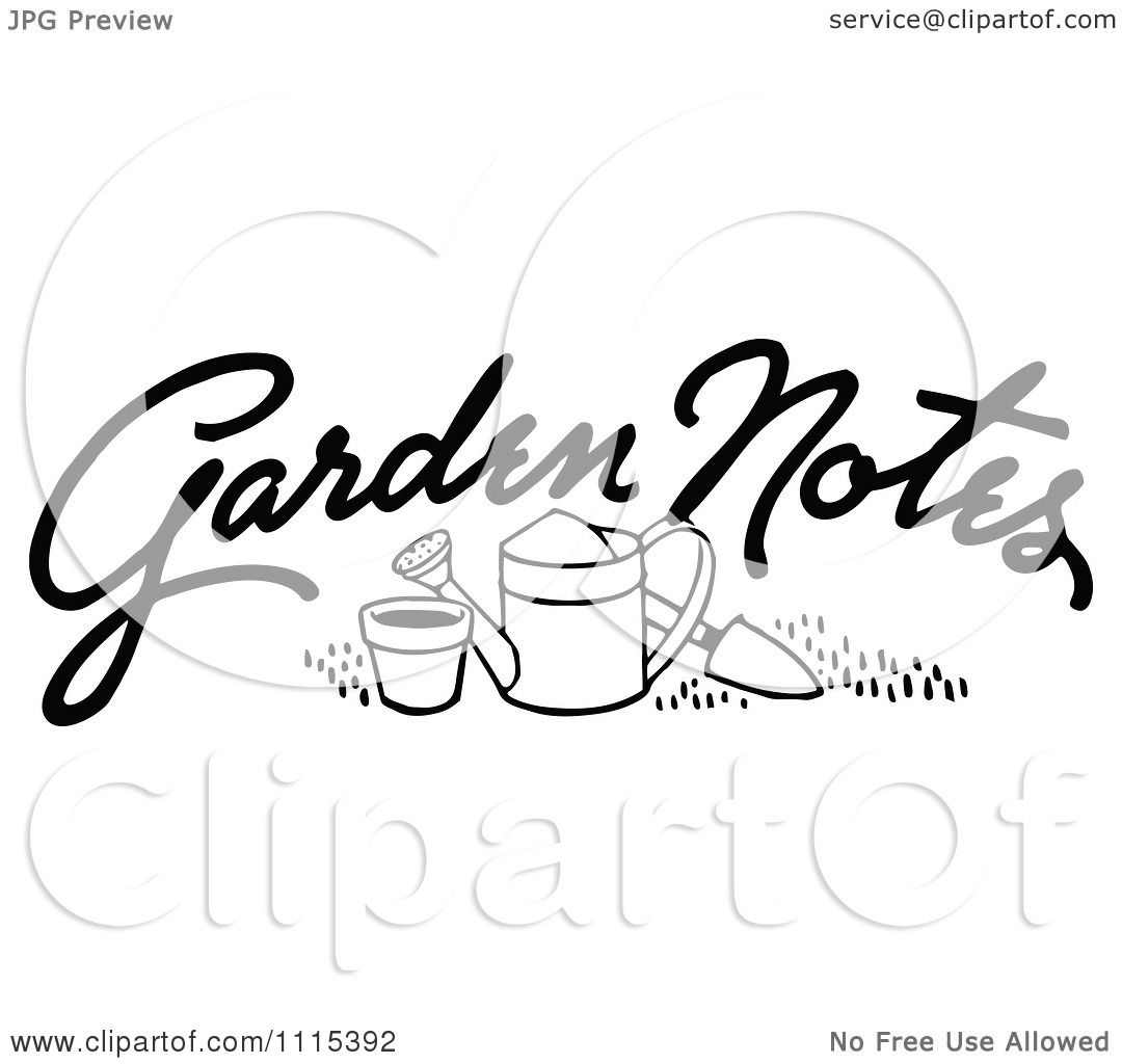 Clipart Vintage Black And White Garden Notes Text And