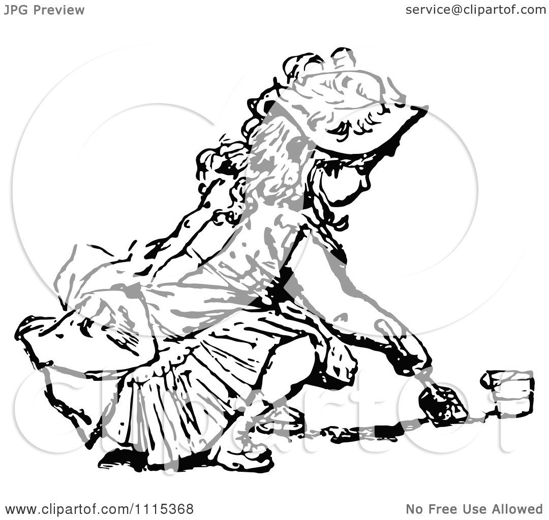 Clipart Vintage Black And White Girl Digging In Sand