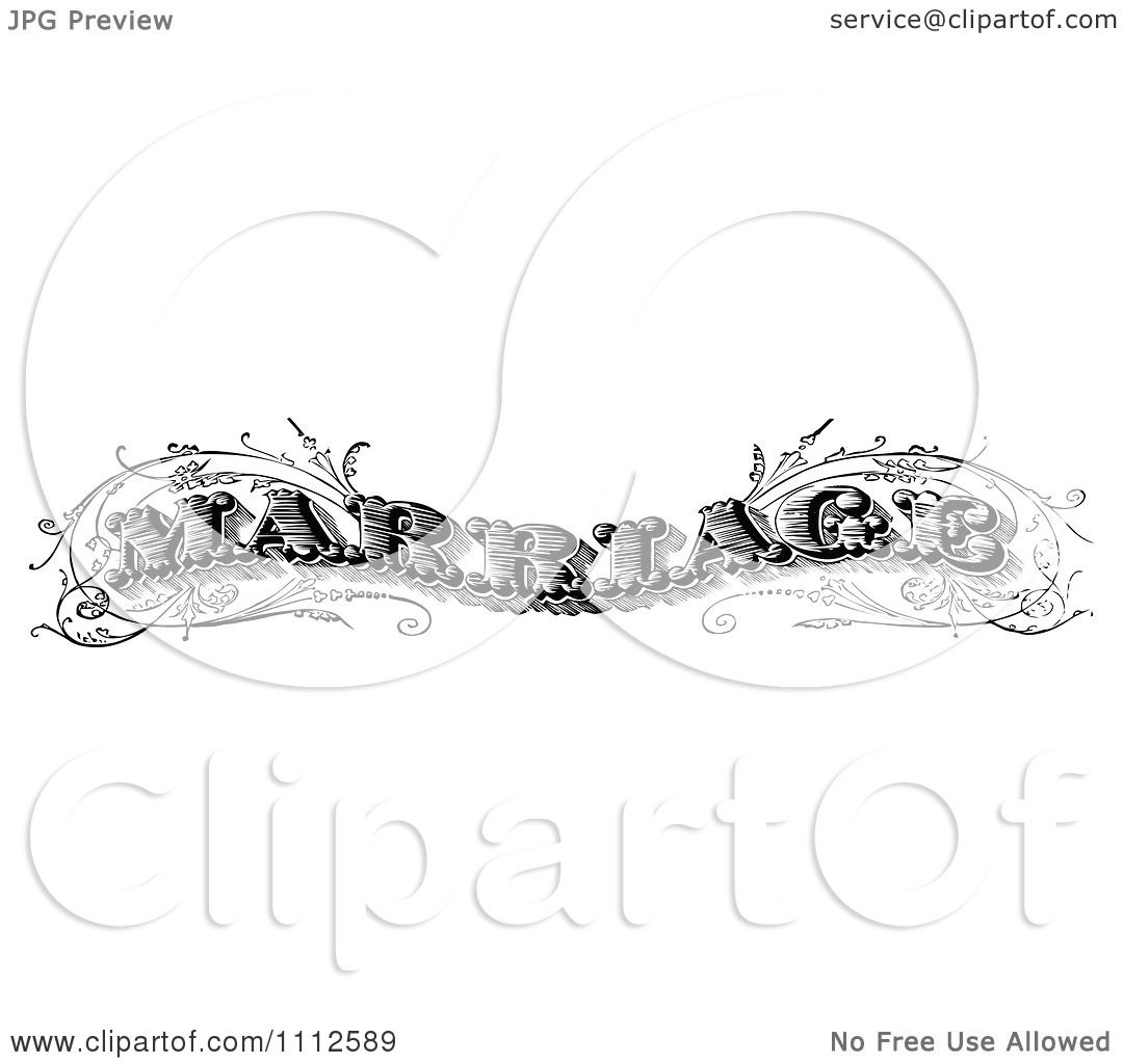 Clipart Vintage Black And White Marriage Text