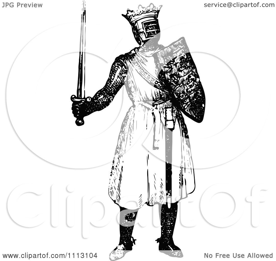 Clipart Vintage Black And White Me Val Knight On With A