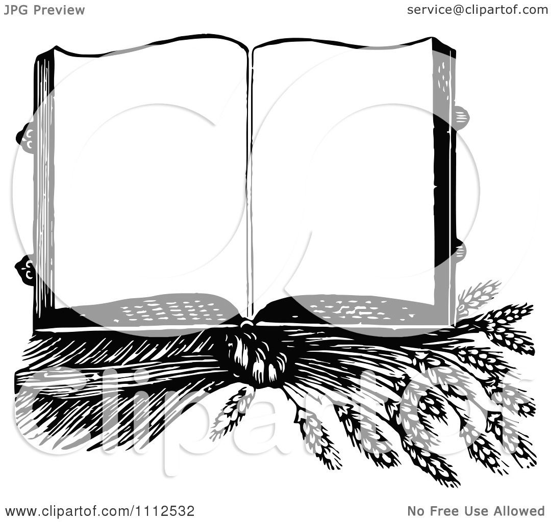 Clipart Vintage Black And White Open Cook Book Over Wheat