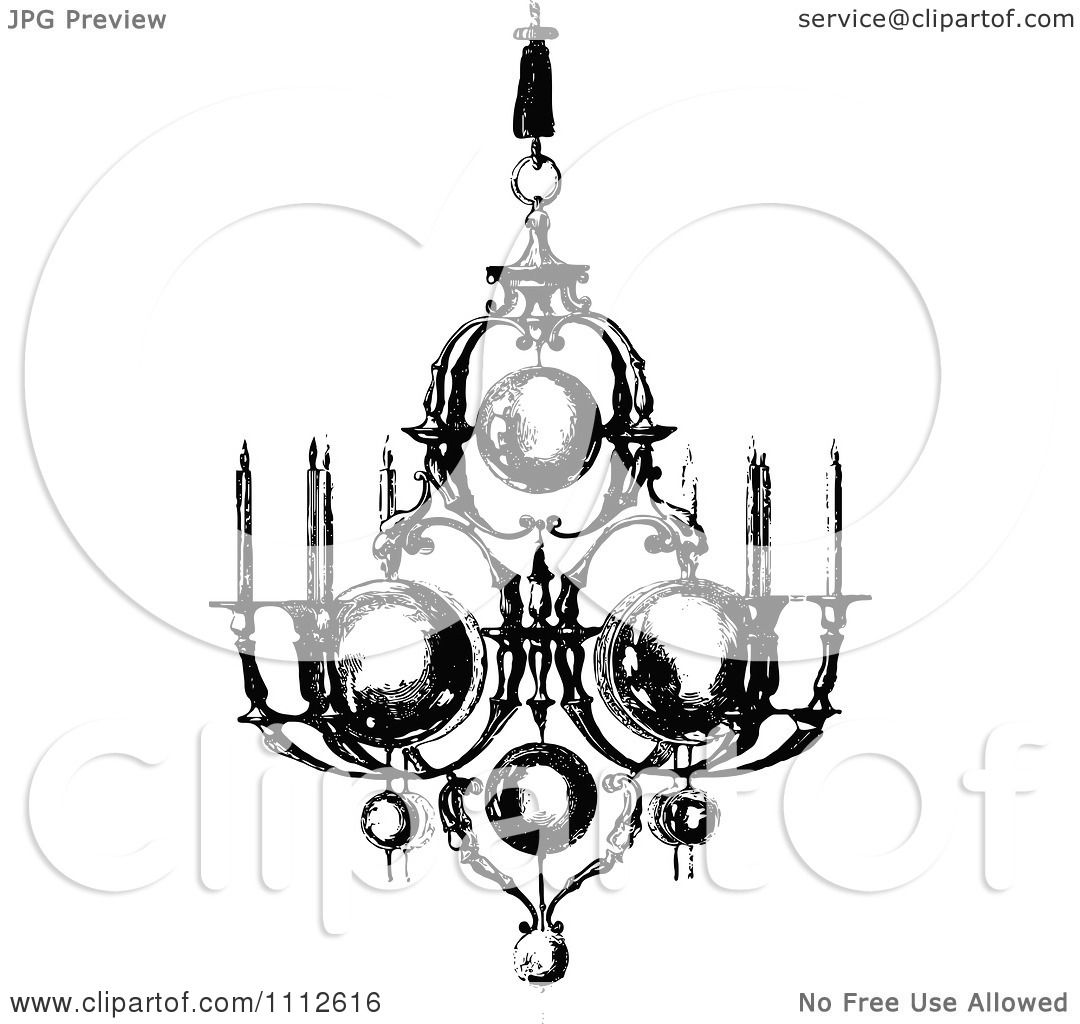Clipart Vintage Black And White Ornate Chandelier With