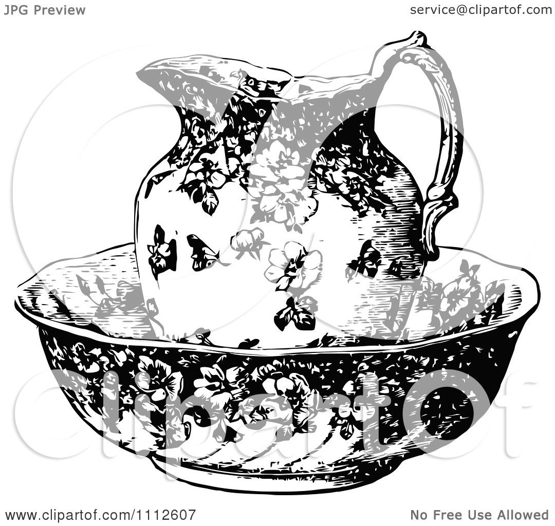 Clipart Vintage Black And White Pitcher In A Bowl