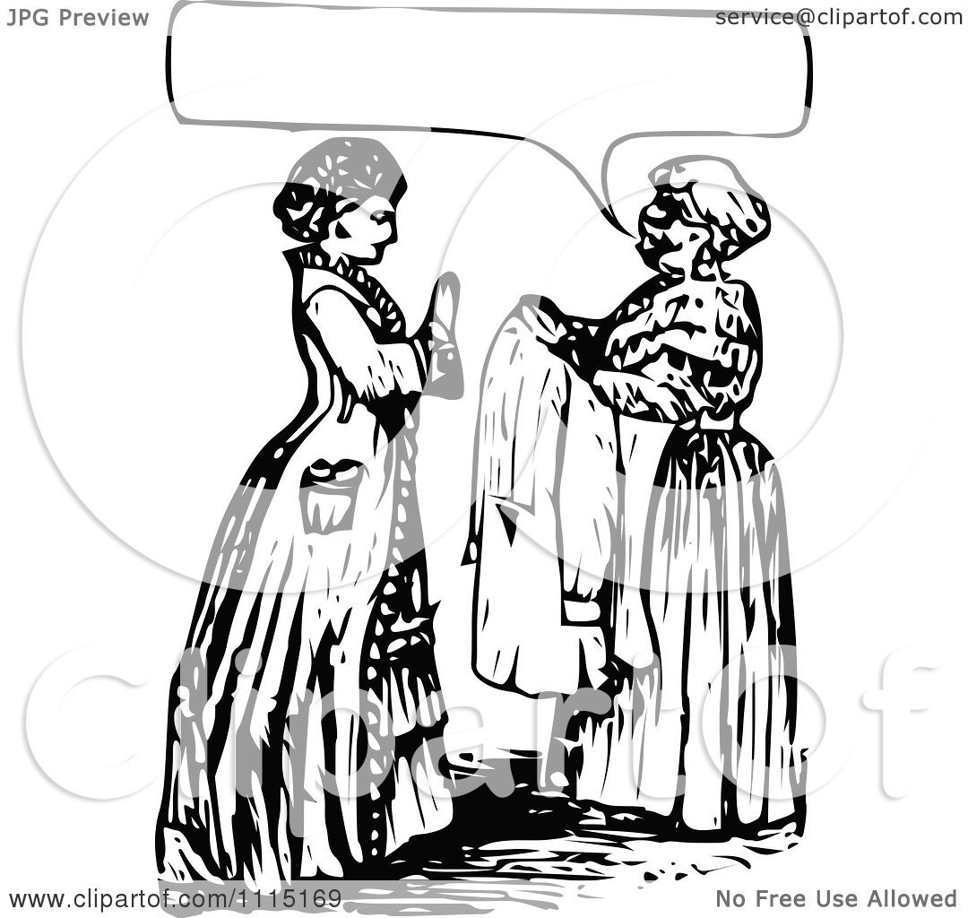 Clipart Vintage Black And White Servant And Mistress