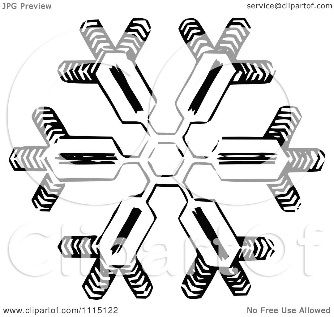 Clipart Vintage Black And White Snowflake 2