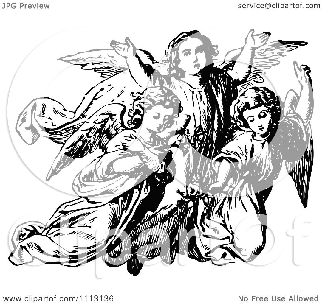 Clipart Vintage Black And White Trio Of Angels
