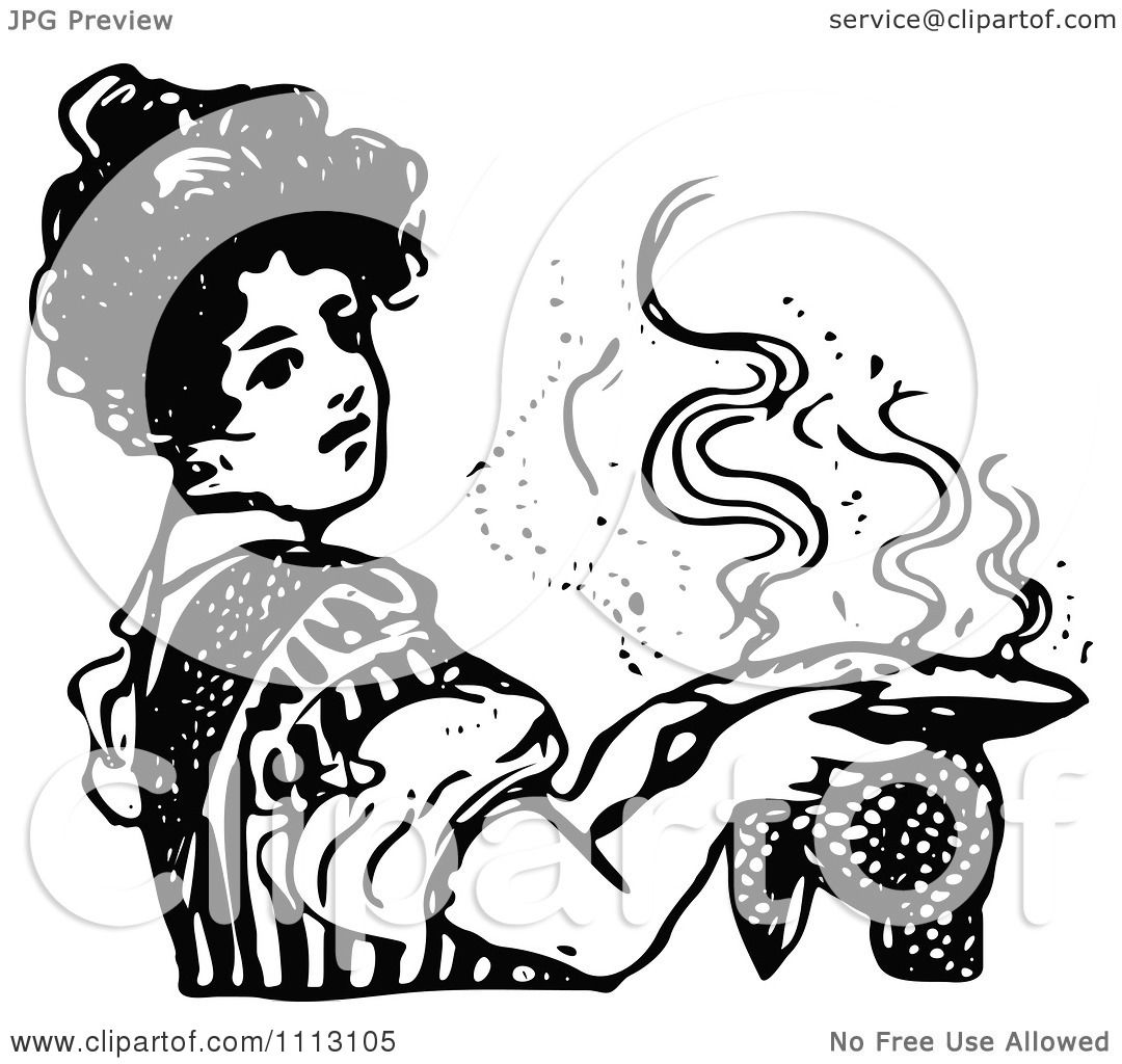 Clipart Vintage Black And White Woman Holding A Hot Pie
