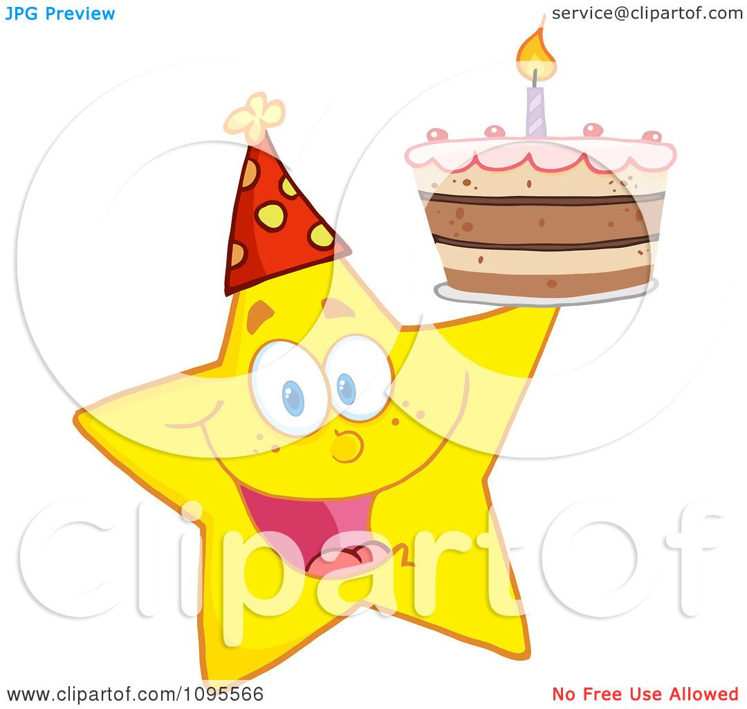 Clipart Yellow Star Holding Up A Birthday Cake Royalty