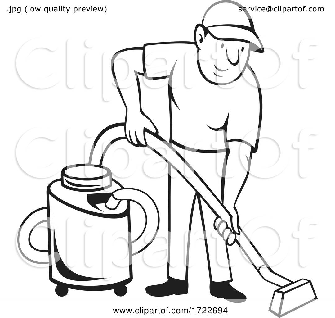 Commercial Carpet Cleaner Worker Vacuuming With Vacuum