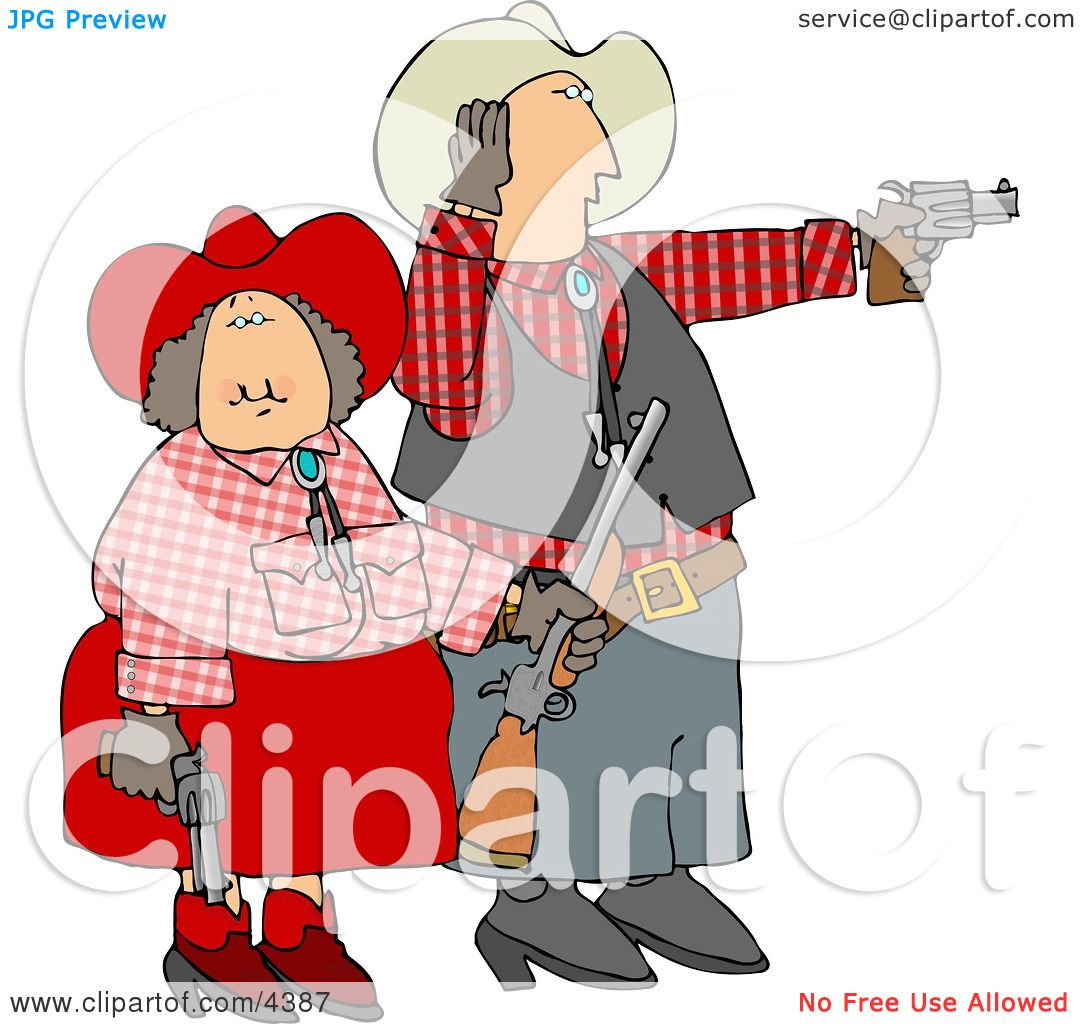 Cowboy And Cowgirl Couple Target Practicing With Pistols