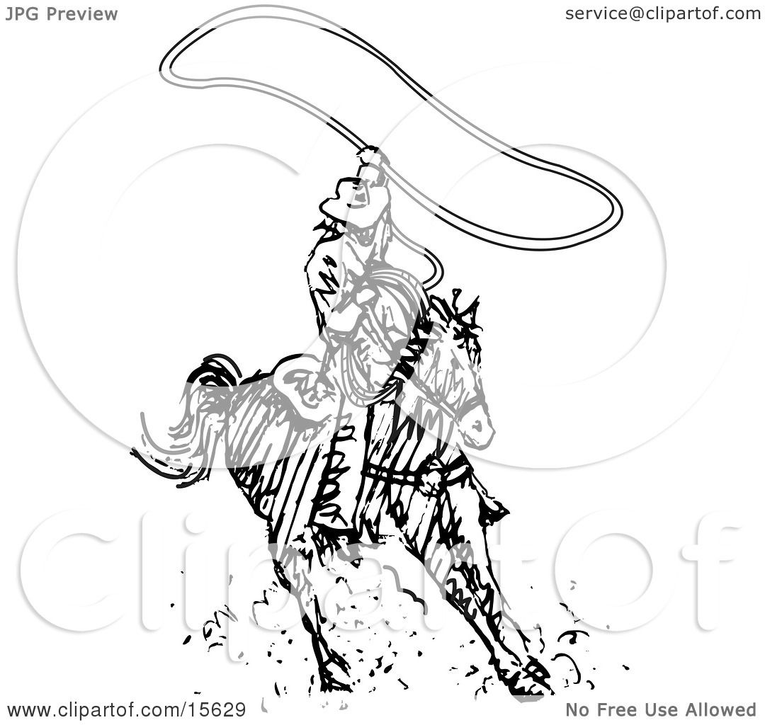 Cowboy Swinging A Lasso While Riding A Horse Clipart