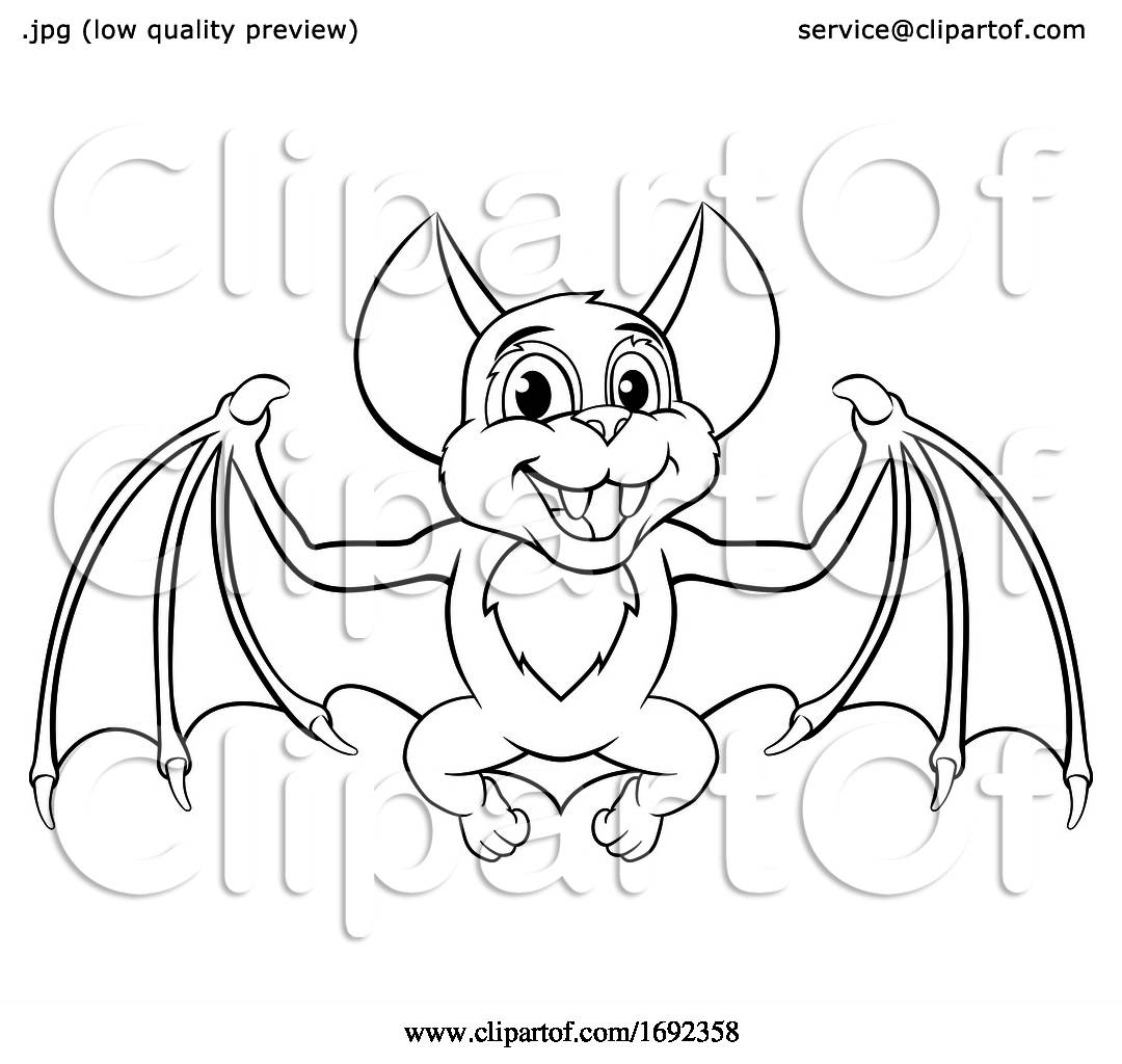 Cute Halloween Bat Cartoon Character By