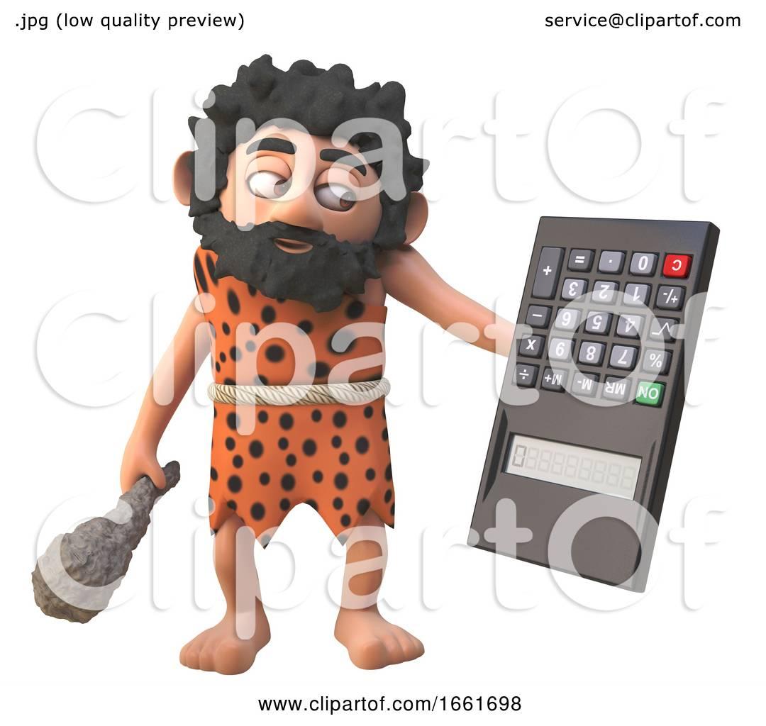 Dumb 3d Caveman Character Holding A Digital Calculator