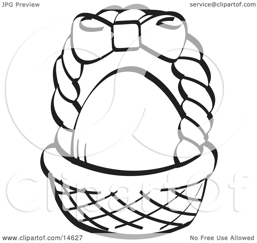 Egg In A Brown Easter Basket With A Pink Bow On The Handle Black And White Clipart Illustration