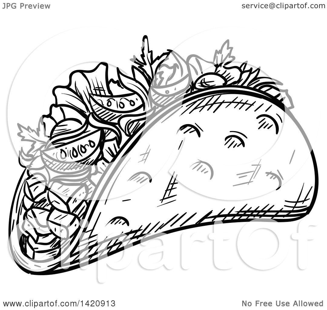 Fast Food Clipart Of A Black And White Sketched Doner