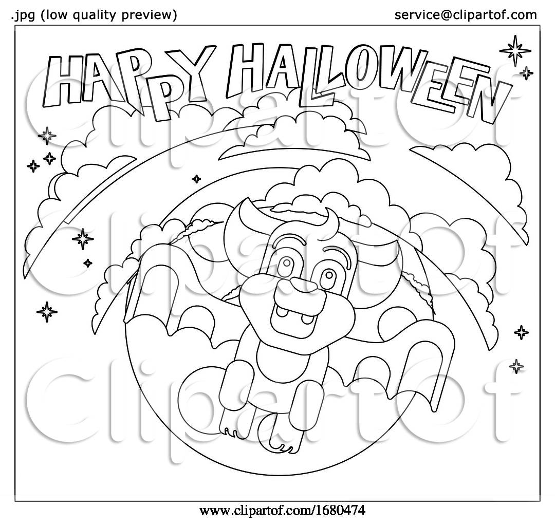Halloween Cute Vampire Bat Flying In Front Of Moon By