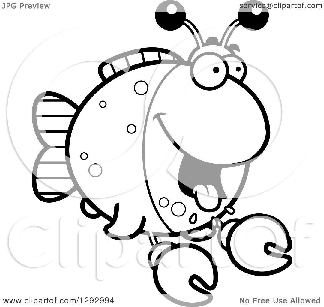 Lineart Clipart Of A Black And White Cartoon Hungry