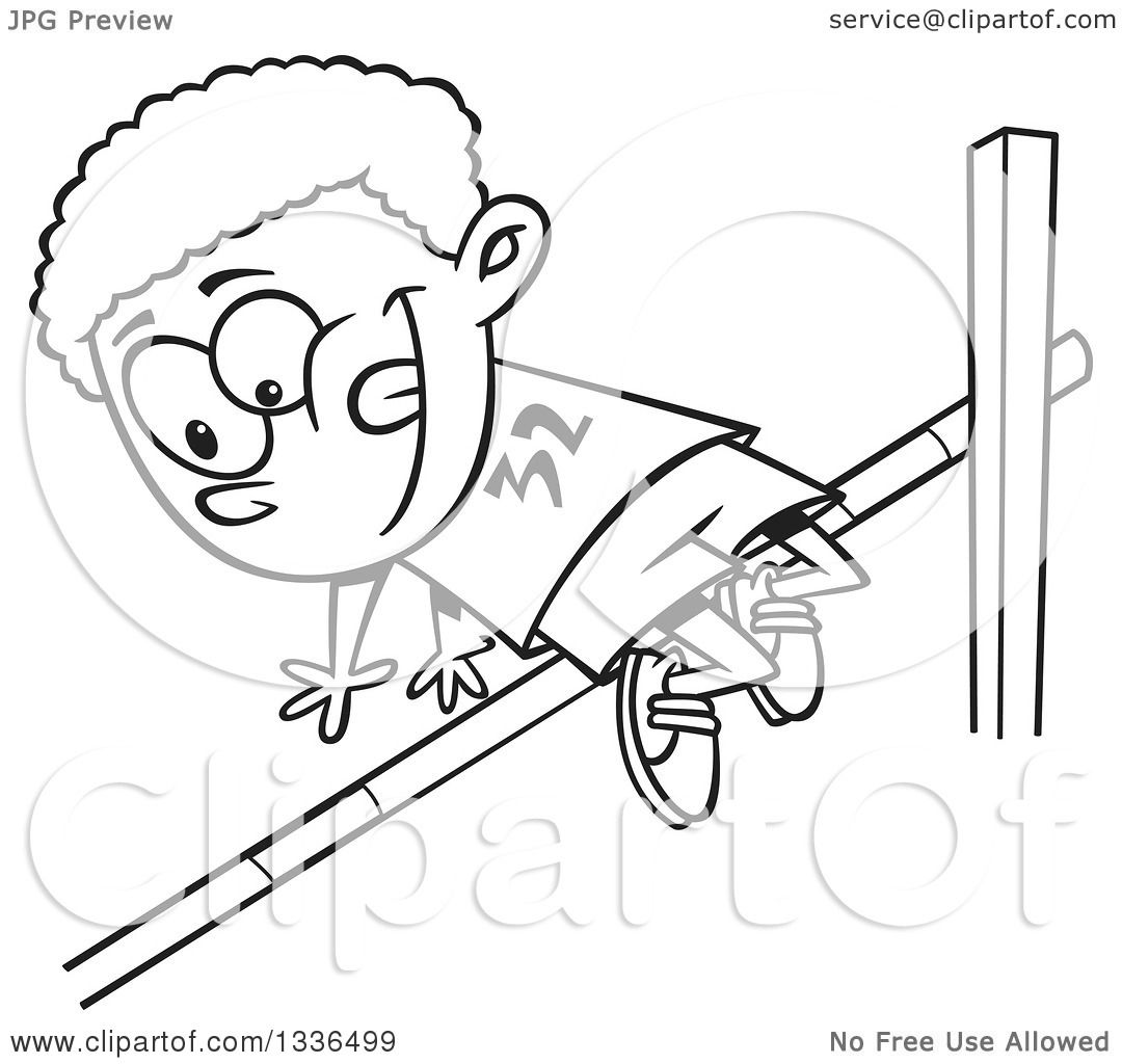 Lineart Clipart Of A Cartoon Black And White African American Boy Doing A Track And Field High