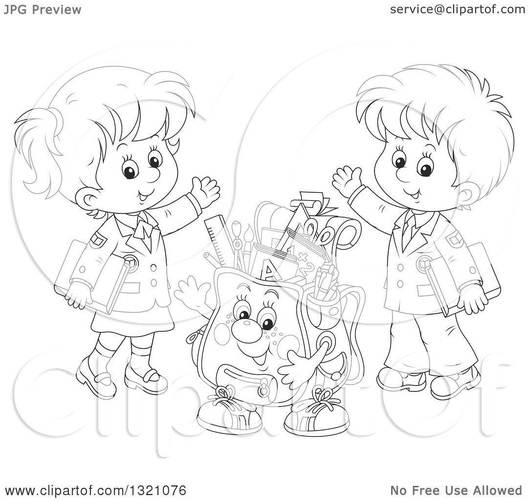 Lineart Clipart Of A Cartoon Black And White Backpack
