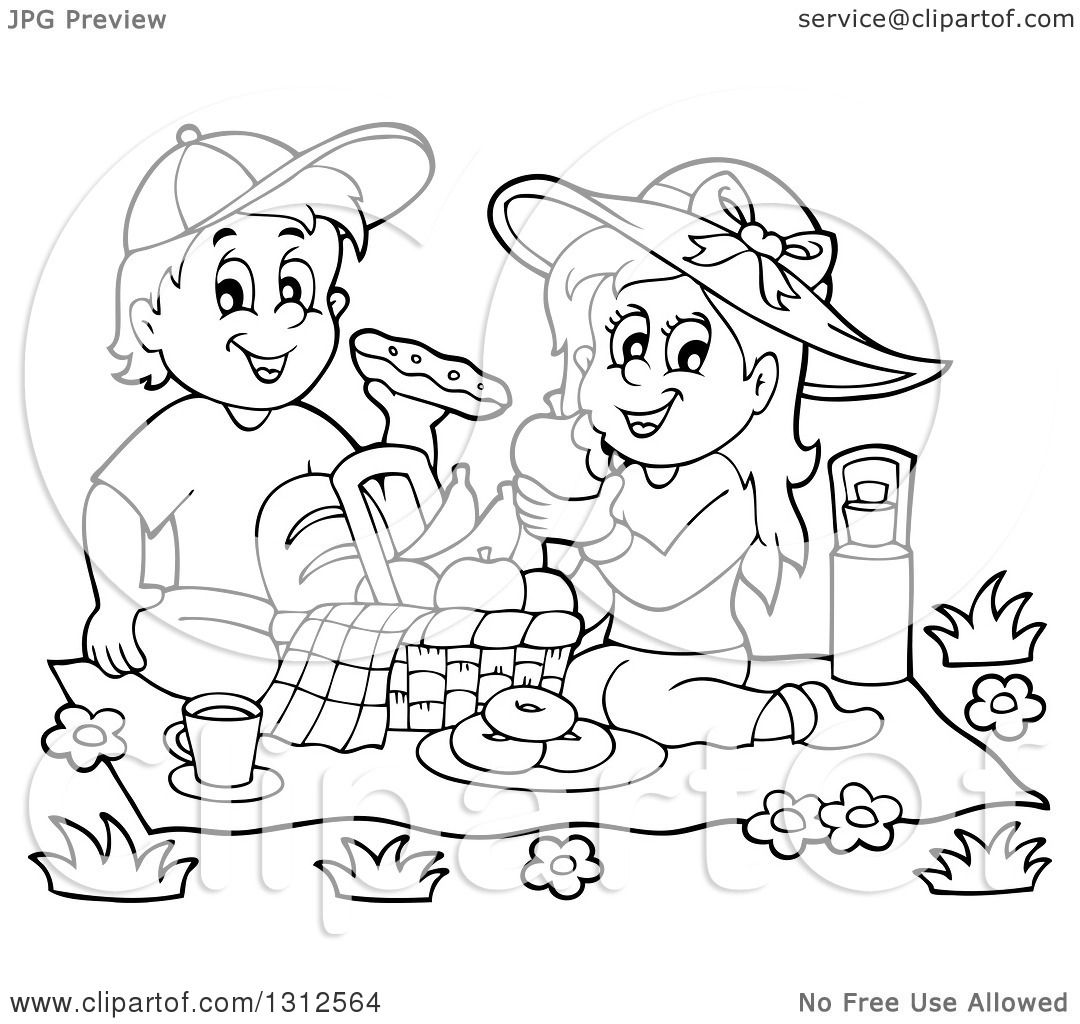 Lineart Clipart Of A Cartoon Black And White Boy And Girl