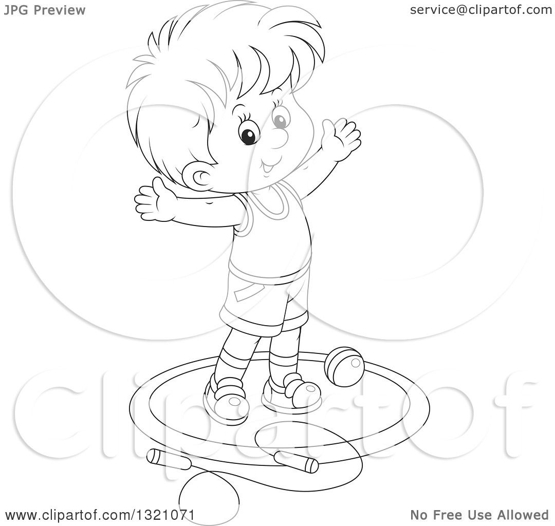 Lineart Clipart Of A Cartoon Black And White Boy Working