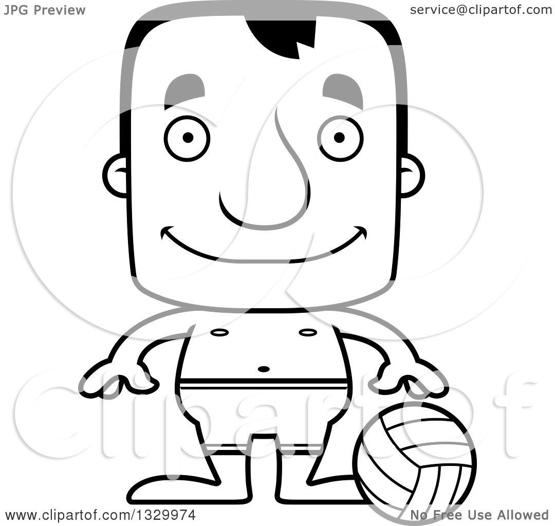 Lineart Clipart Of A Cartoon Black And White Happy Block