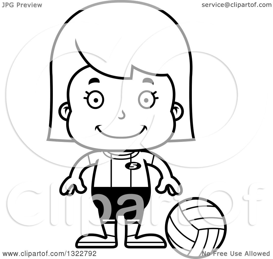Lineart Clipart Of A Cartoon Black And White Happy Girl