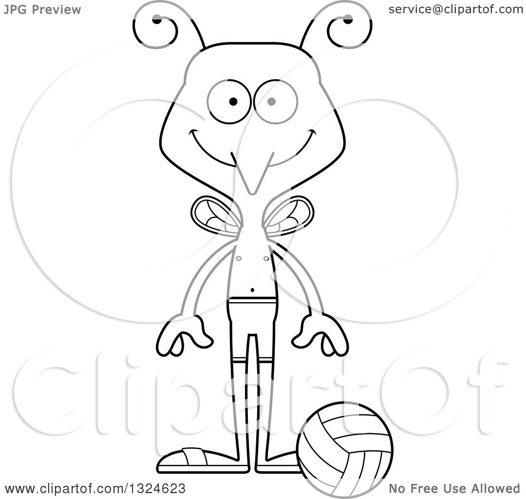 Lineart Clipart Of A Cartoon Black And White Happy