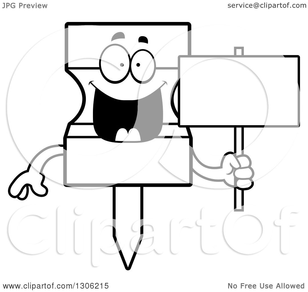 Lineart Clipart Of A Cartoon Black And White Happy Push
