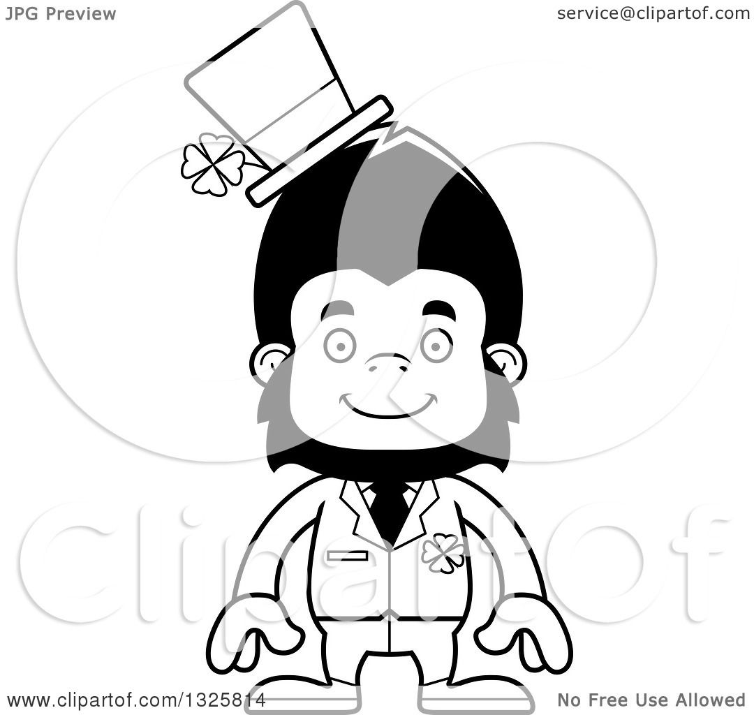 Lineart Clipart Of A Cartoon Black And White Happy St Patricks Day Gorilla
