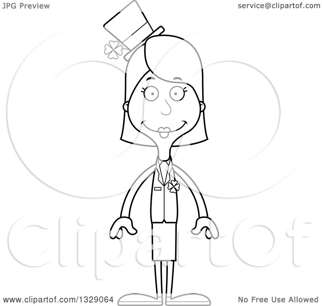 Lineart Clipart Of A Cartoon Black And White Happy Tall Skinny White Irish St Patricks Day Woman