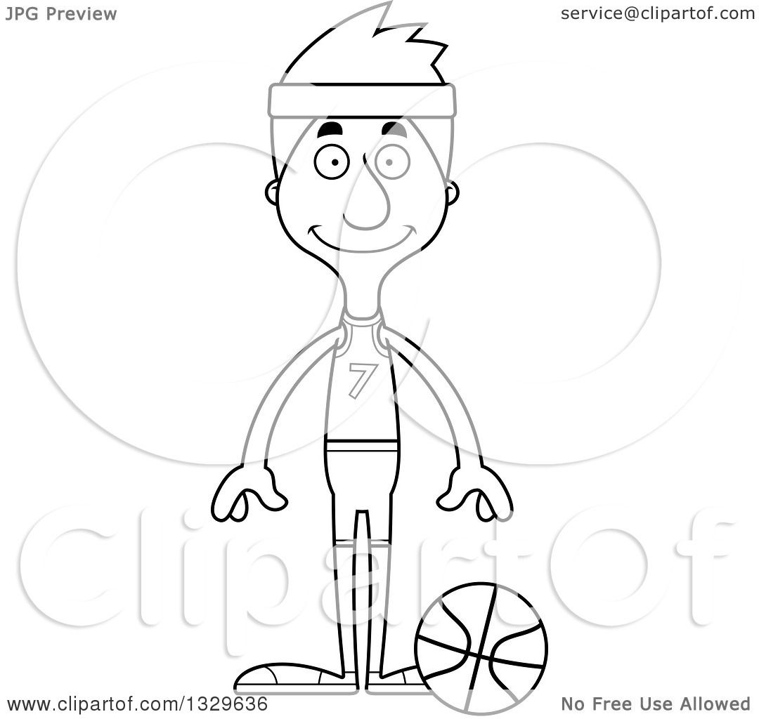 Lineart Clipart Of A Cartoon Black And White Happy Tall Skinny White Man Basketball Player