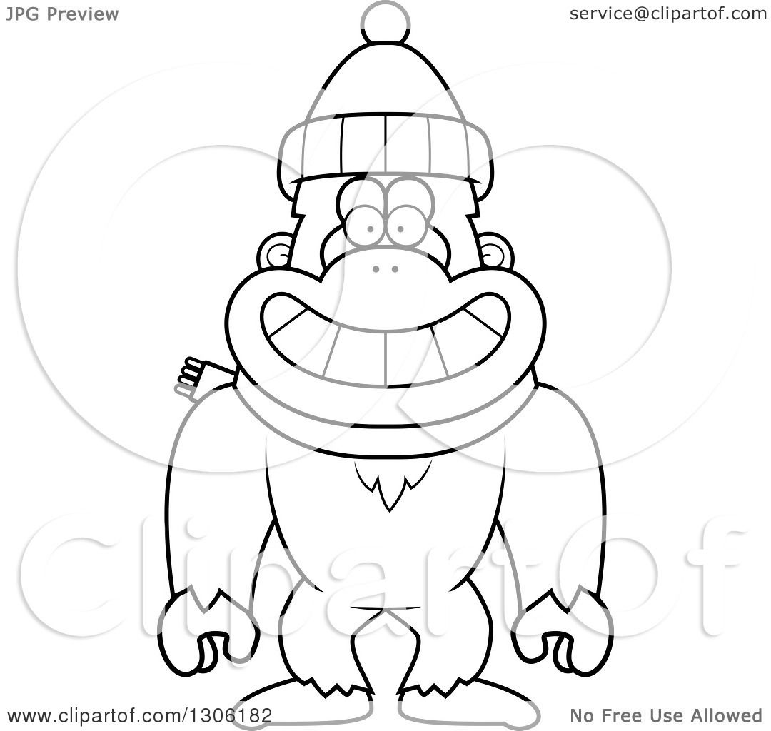 Lineart Clipart Of A Cartoon Black And White Happy Yeti