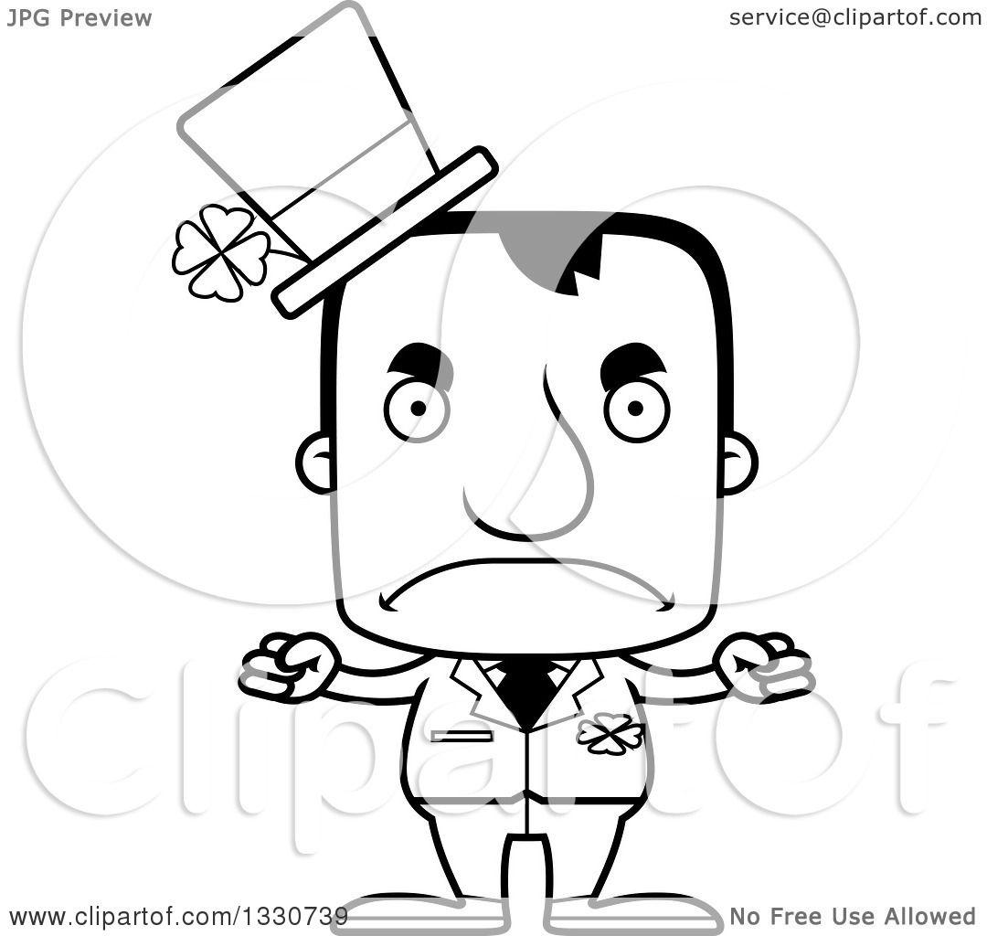 Lineart Clipart Of A Cartoon Black And White Mad Block Headed White Irish St Patricks Day Man