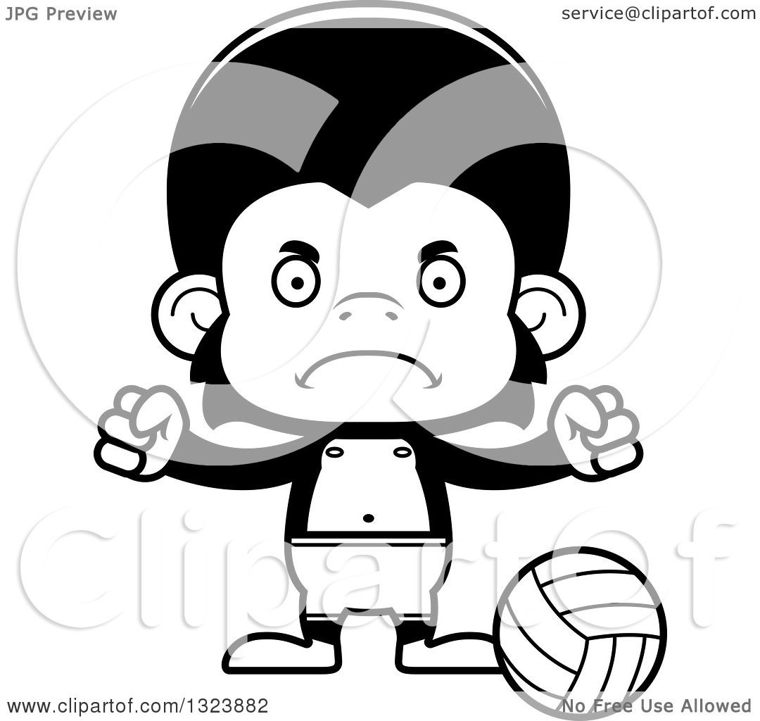 Lineart Clipart Of A Cartoon Black And White Mad
