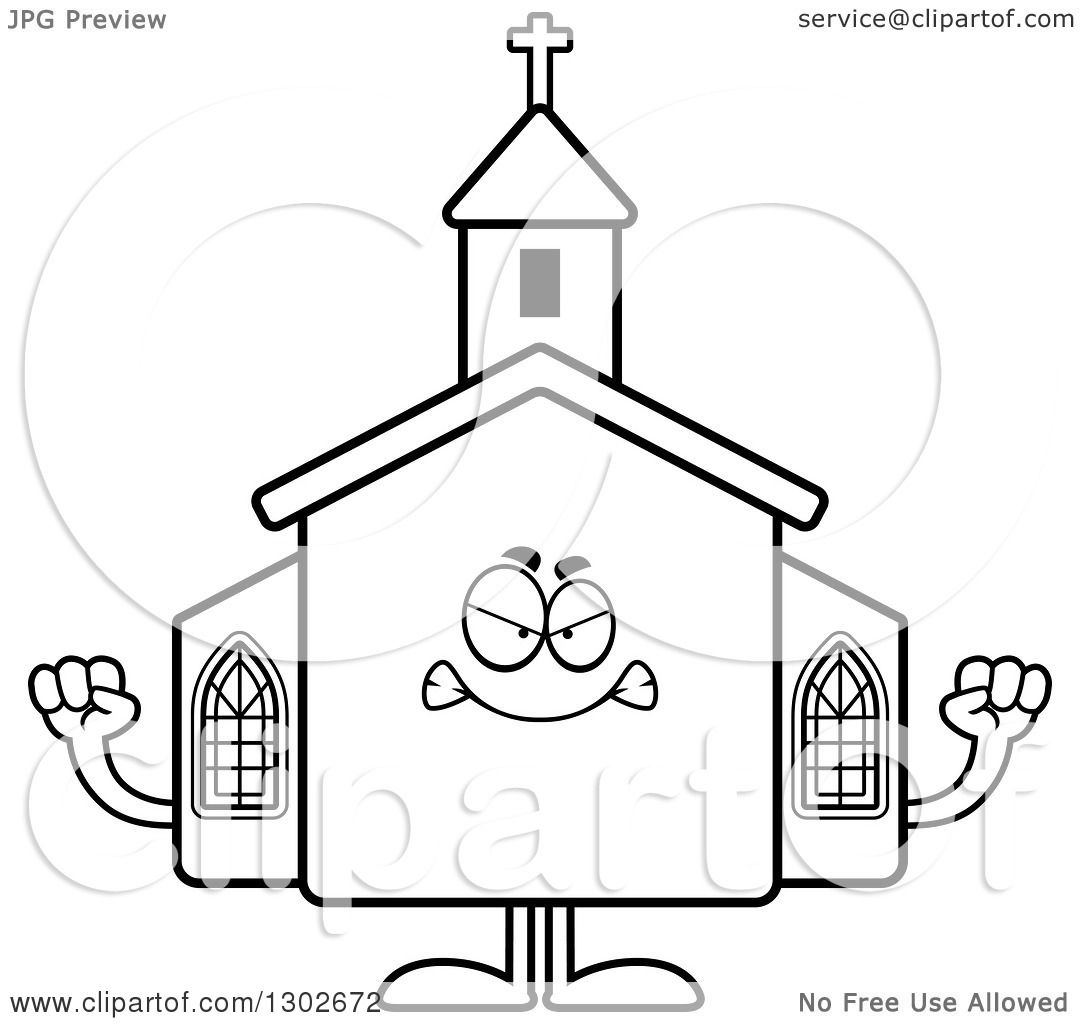 Lineart Clipart Of A Cartoon Black And White Mad Church