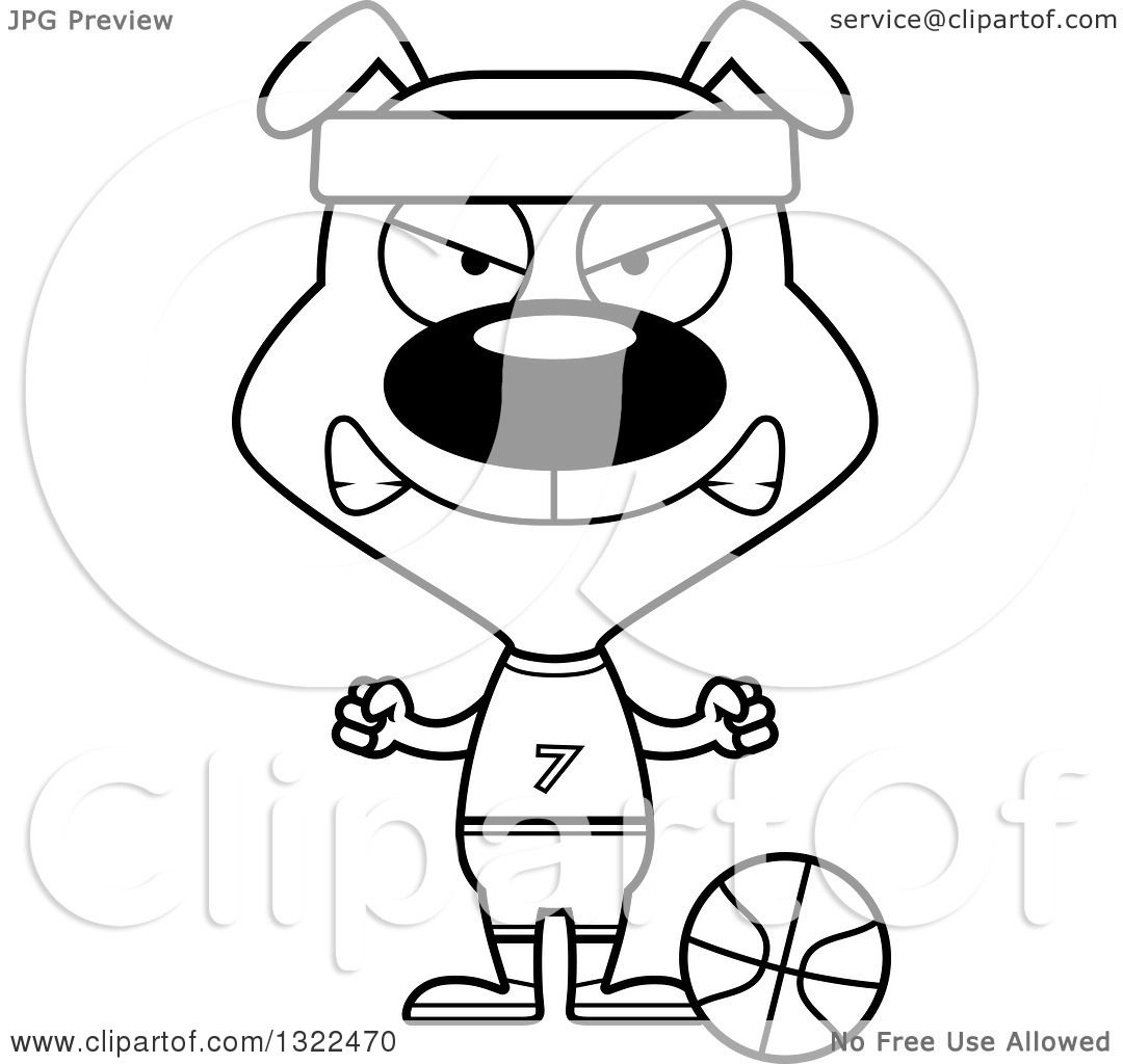 Lineart Clipart Of A Cartoon Black And White Mad Dog Basketball Player