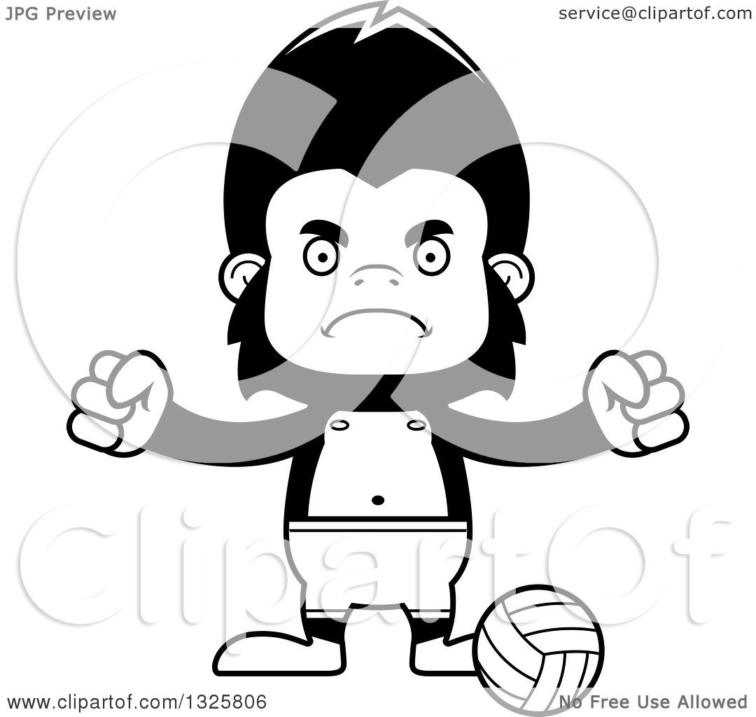 Lineart Clipart Of A Cartoon Black And White Mad Gorilla